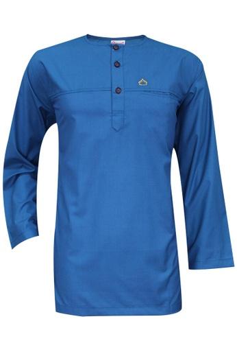 SULTAN blue SULTAN KURTA - PRESIDENT - ROUND NECK FULL SLEEVES E1FC0AA54517FAGS_1