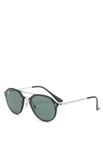 Ray-Ban 黑色 雙槓太陽眼鏡 49671GL86CF9BEGS_1
