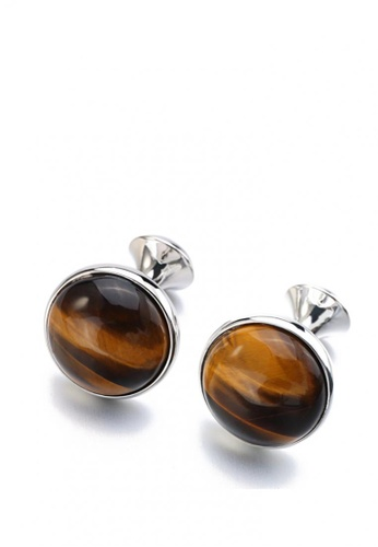 Kings Collection silver Plating Round Tiger Eye Stone Men Cufflinks 4499DAC3D3916FGS_1