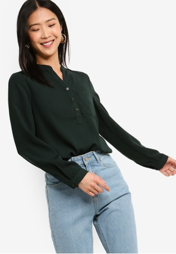 ZALORA BASICS green Basic Button Front Pocket Details Blouse 75AFDAAB650A60GS_1