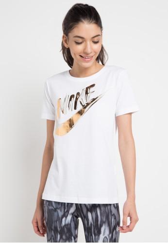 Nike white As W Nsw Top Ss Metallic Gx 173A3AA712DC17GS_1