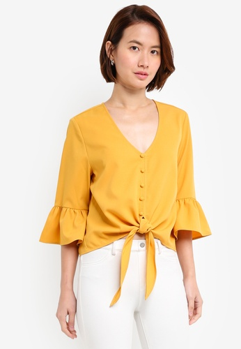 ZALORA yellow Ruffle Neck Top FD29DAA8CDD8ADGS_1