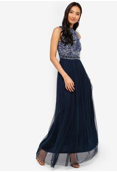 47424adb32 Lace   Beads navy Jessy Embellished High Neck Maxi Dress 08A3FAAFD13887GS 1