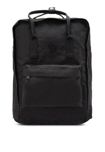 8951595984 Fjallraven Kanken black Black Re-Kanken Backpack FJ382AC92ZNJMY 1