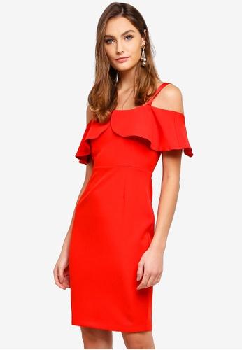 Vesper red Sarah Frill Detail Mini Dress 7094BAABA99C58GS_1