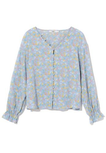 b+ab blue Floral print v-neck top 0A351AA1104938GS_1