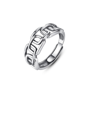 Glamorousky silver 925 Sterling Silver Fashion Simple Hollow Geometric Adjustable Ring 82BB9AC89CD0ECGS_1