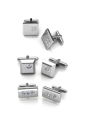 Her Jewellery silver Cufflinks - Set Bundle of 3 pairs - Made with Premium grade crystals from Austria A009AACBF4A8EDGS_1