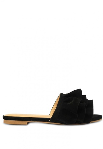 HDY black Megan Slide Flat Sandals DF158SHC97BC88GS_1