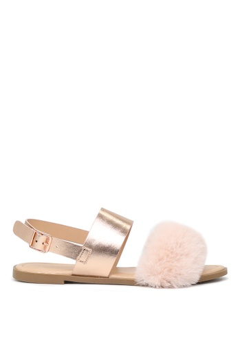 London Rag gold London Rag Fanny Women's Rose Gold  Fur Double Strap Slingback Flat Sandals SH1572 18A89SH8AC211CGS_1