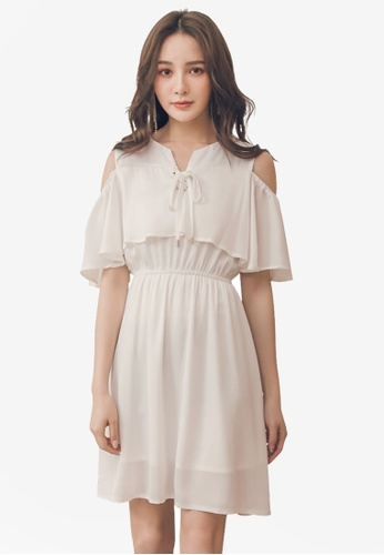 Yoco white Open Shoulder Ruffle Trim Dress With Pockets 42C85AA9FF746DGS_1