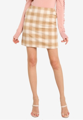 WAREHOUSE brown Check Pelmet Skirt 006BFAA61117BBGS_1