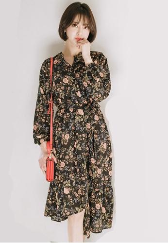 LYCKA black LBH4951 Lady Chiffon Floral Printed Irregular Hem Midi Dress -Black BFD79AA33EAB78GS_1