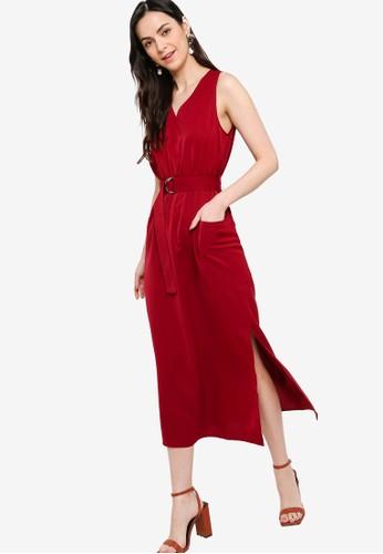 ZALORA WORK red V Neck Midi Dress 03280AAAC43659GS_1