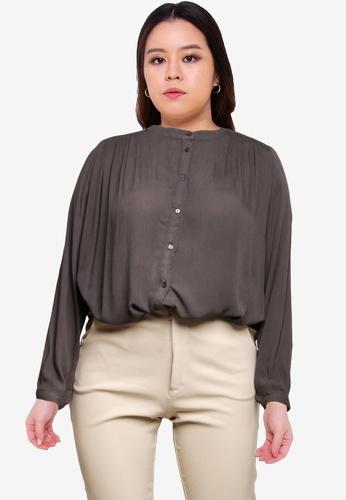 Only CARMAKOMA 灰色 Plus Size Asta Life Long Sleeve Shirt 0756AAAD974256GS_1