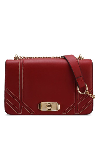 Something Borrowed red Front Flap Chain Shoulder Bag 85619AC5C01477GS_1