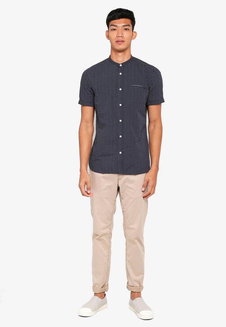 Print All Short ESPRIT Over Navy Shirt Sleeve OqqxHgw