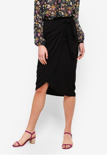 FORCAST black Charlize Tie Waist Skirt C6A7CAA2B8F022GS_1