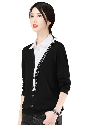 A-IN GIRLS black and white Fake Two Piece Stitching Lapel Top 9D3E8AA3E7FD18GS_1