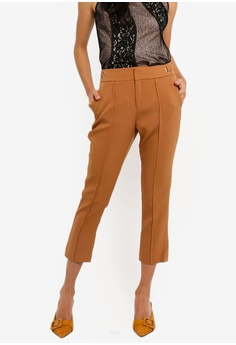 56610f36560 Dressing Paula brown Pintucked Cady Tapered Pants 0DD56AA4539CD4GS 1