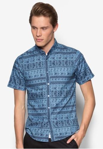 esprit hong kong 分店阿茲特克印花丹寧短袖襯衫, 服飾, 襯衫