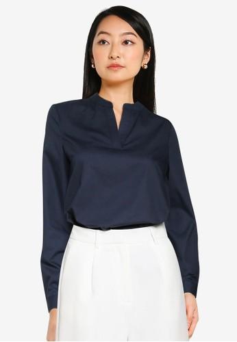 ZALORA BASICS navy Mandarin Collar Shirt 5A25EAAD45D113GS_1