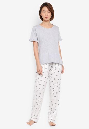 Dorothy Perkins grey Grey Butterfly Frill Pyjama Set 1DAC0AAEA6F1B8GS_1