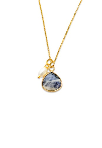 Trinkets for Keeps gold Faceted Sodalite Stone Necklace 7934CACFBCADEFGS_1