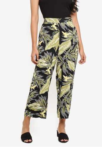WAREHOUSE black Palm Print Culotte Pants B0237AA0B73481GS_1