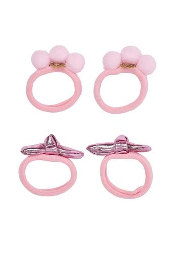 Du Pareil Au Même (DPAM) pink 4-Pack Clear Pink Hair Elastics C96D4KCAF0A648GS_1