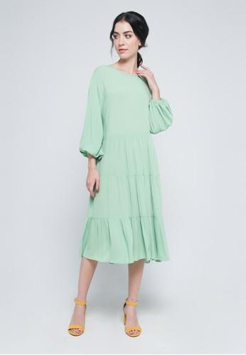 9 to 12 green Lisbon Pillar Dress 07E08AA670055EGS_1