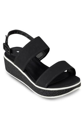 雙帶繞踝楔形厚底鞋zalora 心得 ptt, 女鞋, 鞋