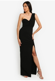 b114c0f12fa MISSGUIDED black One Shoulder Bust Cup Maxi Dress 911B8AA8F8B7EDGS 1