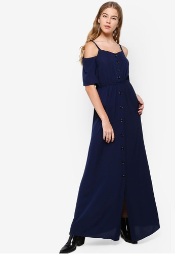 Something Borrowed navy Cold Shoulder Buttoned Down Maxi Dress 28B6BAACA2911DGS_1