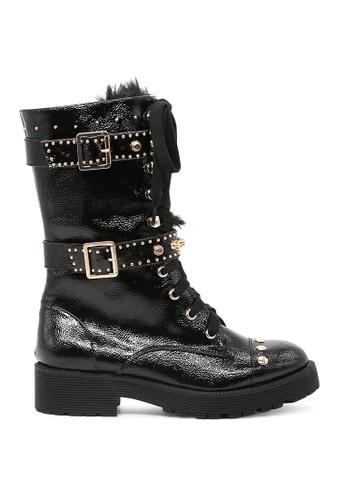 London Rag black Black Lace Up Long Ankle Boots 89F7DSHD6A0D06GS_1