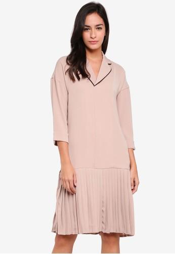 KLEEaisons beige Low Waist Pleated Pajama Dress C61C0AA31A32AFGS_1