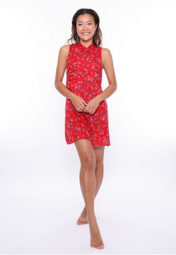 Aanya red Red Floral Sleeveless Shirt Dress 2C793AA4413203GS_1
