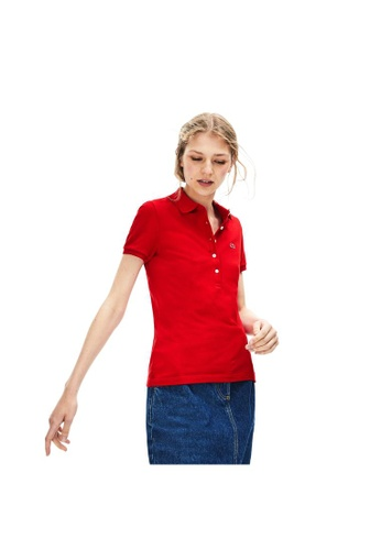 480819bc90c Lacoste red Women's Lacoste Slim Fit Stretch Mini Cotton Piqué Polo  Shirt-PF7845-10