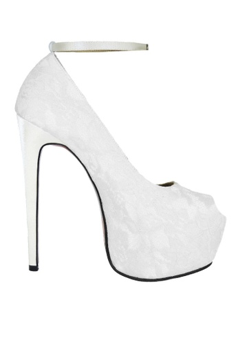 Jacque white Party White Lace Heels with Strap JA262SH18EMZMY_1