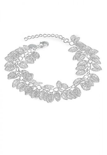 Glamorousky silver Fashion Hollow Leaf Bracelet 12E54ACC5B2416GS_1