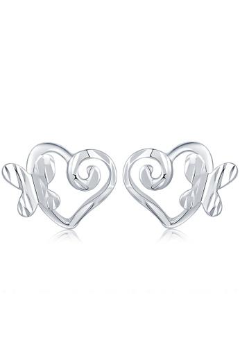 MaBelle silver 14K White Gold Butterfly and Heart Stud Earrings MA584AC2W730HK_1