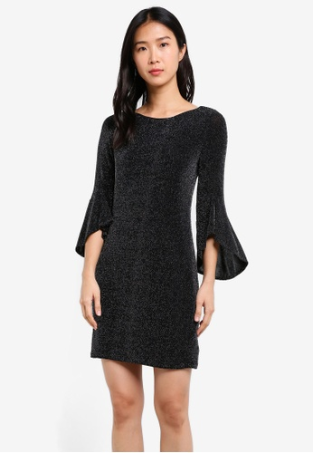 Wallis black Petite Sparkle Flute Sleeve Dress WA800AA0SD1FMY_1
