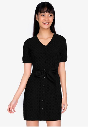 ZALORA BASICS black Broderie Fitted Shirt Dress 89BFEAAA21BED5GS_1