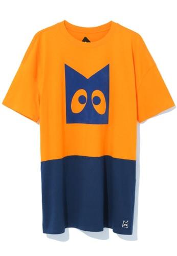 Mini cream orange Graphic colour block tunic dress 6E97DAA977A0CEGS_1