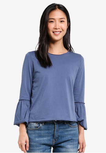 Abercrombie & Fitch blue 3/4 Bell Sleeve Top AB423AA0SBO5MY_1