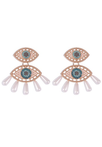 Sunnydaysweety gold Explosive Devil's Eye Sparkling Pendant Earrings A21032405 999EBAC2E72248GS_1