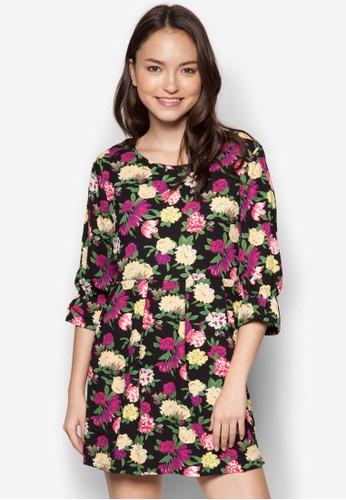 MS 花色褶飾連身裙, 服飾, zalora 折扣碼服飾