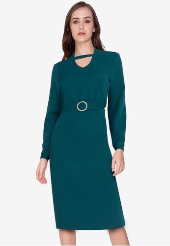 ZALORA WORK blue Long Sleeve Dress With Buckle 7FA1CAA843F3EFGS_1