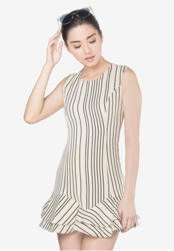 quality design 7820b ed675 Wency Striped Flounced Mini Dress