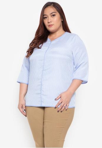 0743776f193b Shop Divina Plus Size Stripes Blouse Online on ZALORA Philippines